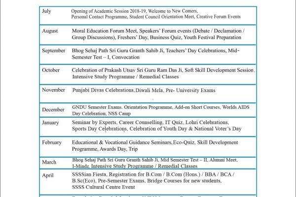 Academic Calendar July 2018- June 2019